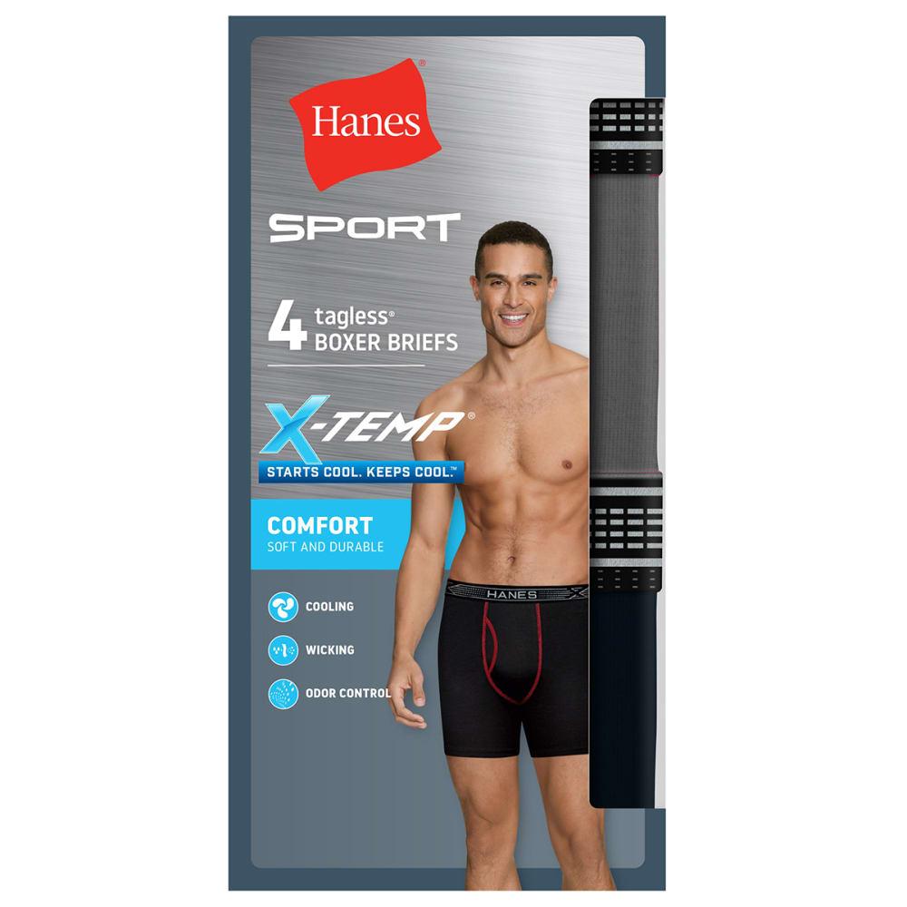 HANES Men's X-Temp Cotton Boxer Briefs Assorted, 4-Pack S