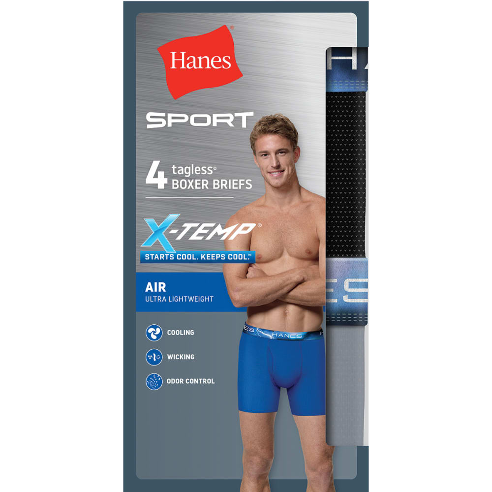 HANES Men's Ultimate X-Temp Performance Boxer Brief, 4 Pack S
