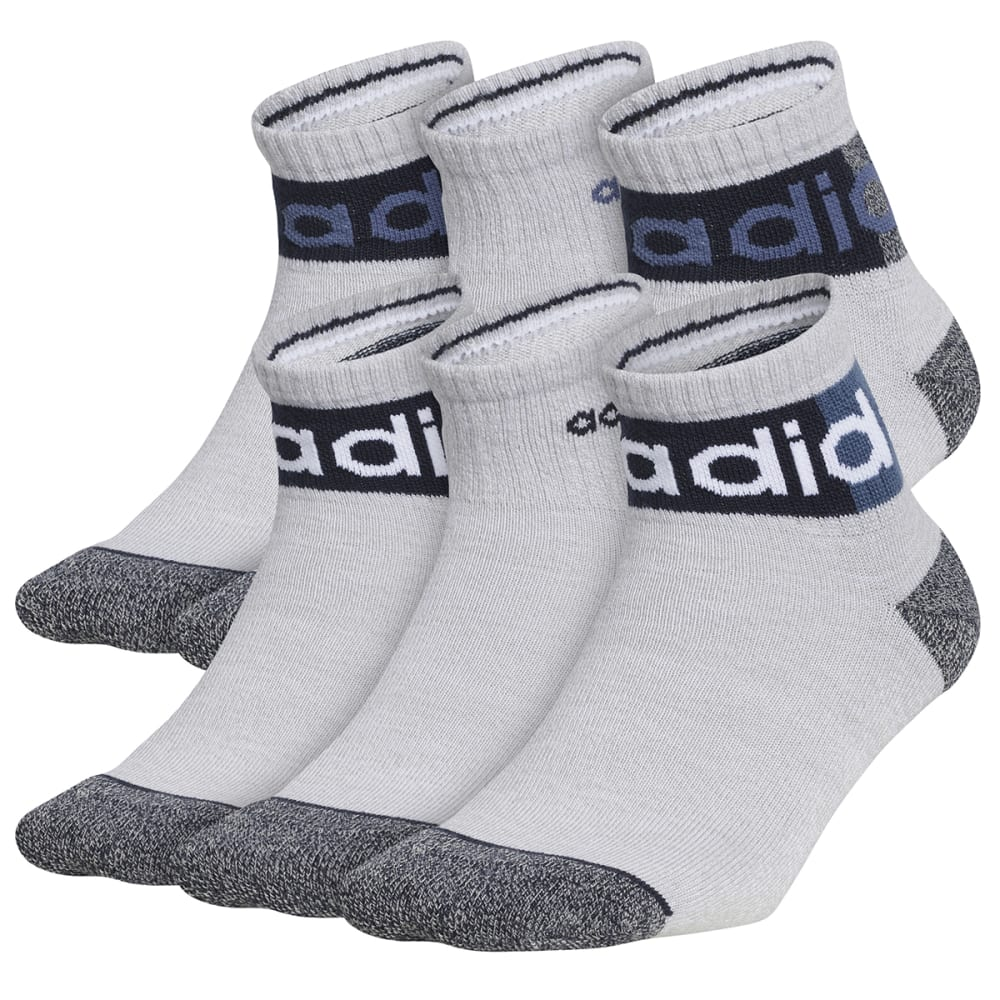 ADIDAS Kids' Blocked Linear 2.0 Quarter Socks, 6 Pack M