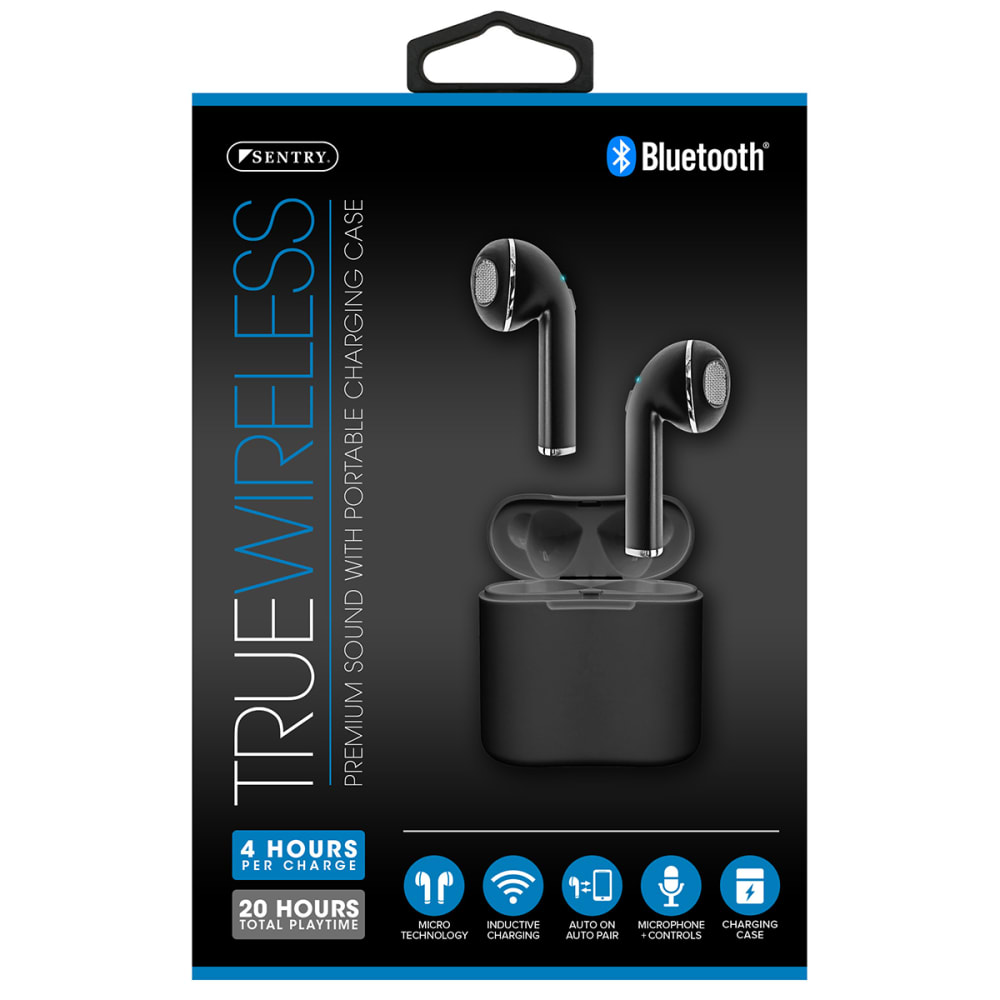 SENTRY True Wireless Bluetooth Earbuds with Case - B-BLACK