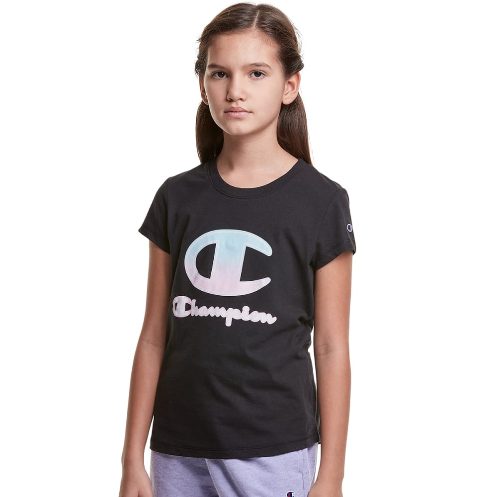 CHAMPION Girls' Classic Ombre Short Sleeve Tee S