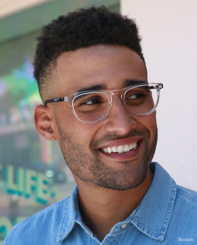 A man wearing clear glasses