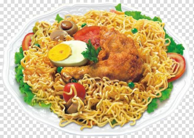 Indomie with egg and chicken