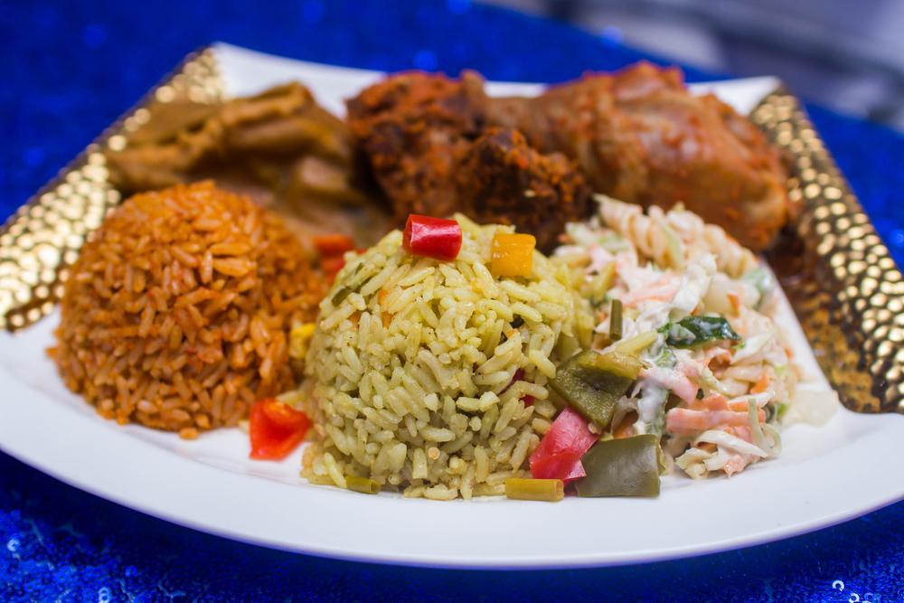 fried rice + jollof rice + coleslaw + chicken + dodo (super combo)