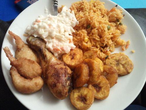 jollof rice+chicken+plantain+coleslaw+fish