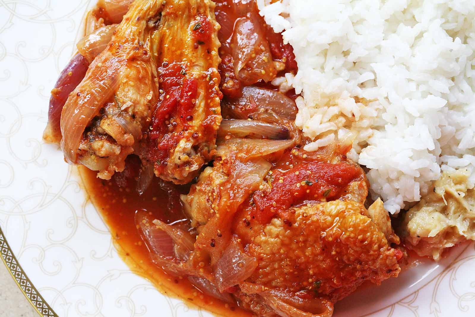 white rice and chiken and stew
