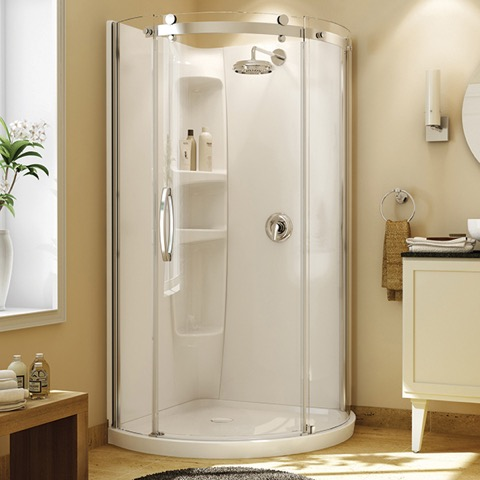 Olympia 36  Round Shower Door w/ White Base by Maax & Olympia 36