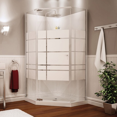 "Begonia 36"" Frameless Neoangle Shower unit by Maax"