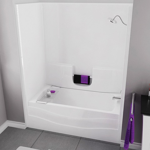 Ts3060 60 White Tub Shower Unit Right Drain By Maax