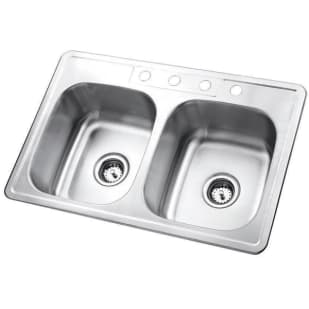 "33X22 6"" Deep Double Bowl Top Mount Satin Stainless Sink"