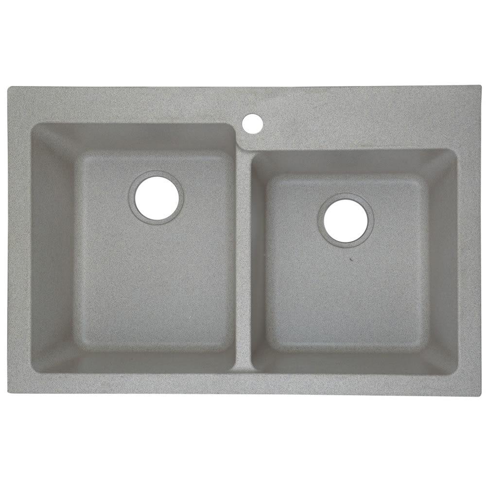 Sand Color Dual Mount Granite Composite Kitchen Sink, 60/40