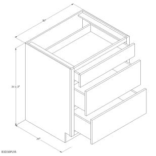 """Unfinished Oak 30"""" 3 Drawer Base Cabinet"""
