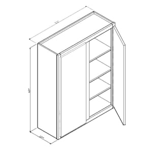 "GHI Arcadia White Shaker 33"" x 42"" Wall Cabinet Drawing"