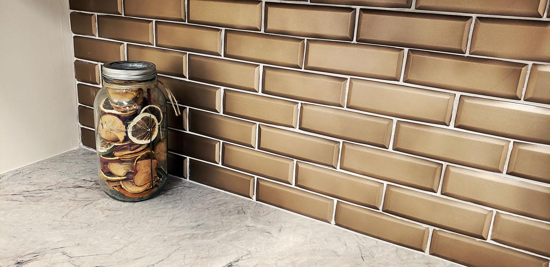 "Bronze Beveled 2""x6"" Brick Metal 12""x12"" Mosaic"