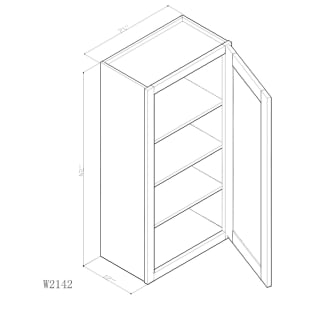 "GHI Arcadia White Shaker 21"" x 42"" Wall Cabinet Drawing"