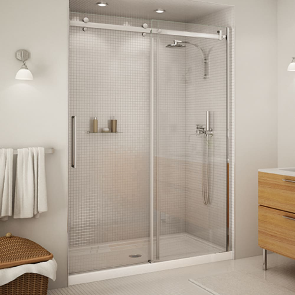 """Maax Halo 60"""" Clear Glass and Chrome Shower Door"""