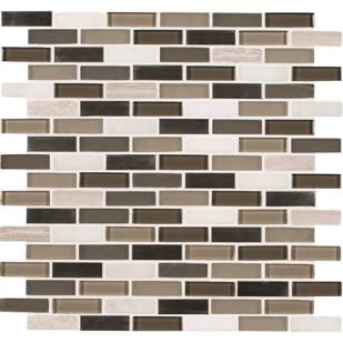 5536571 Silver Tip Glass Stone 12x12 Mosaic Tile
