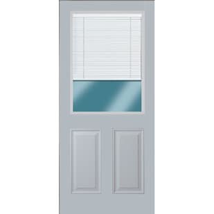 45320098 36 1 2 Lite Exterior Steel Door Unit with Mini Blinds Between the Glass  Left Hand