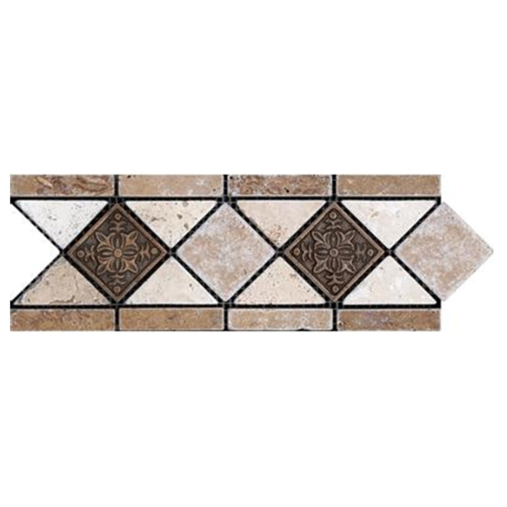 """Listello Noce with Metal Accents 4""""x12"""" Travertine"""
