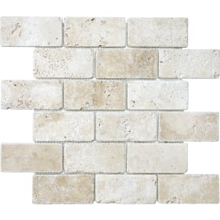 "Mosaic 12""x12"" White/Ivory Travertine"