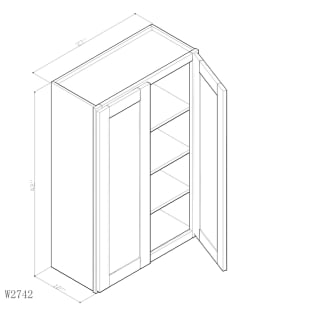 "GHI Arcadia White Shaker 27"" x 42"" Wall Cabinet Drawing"