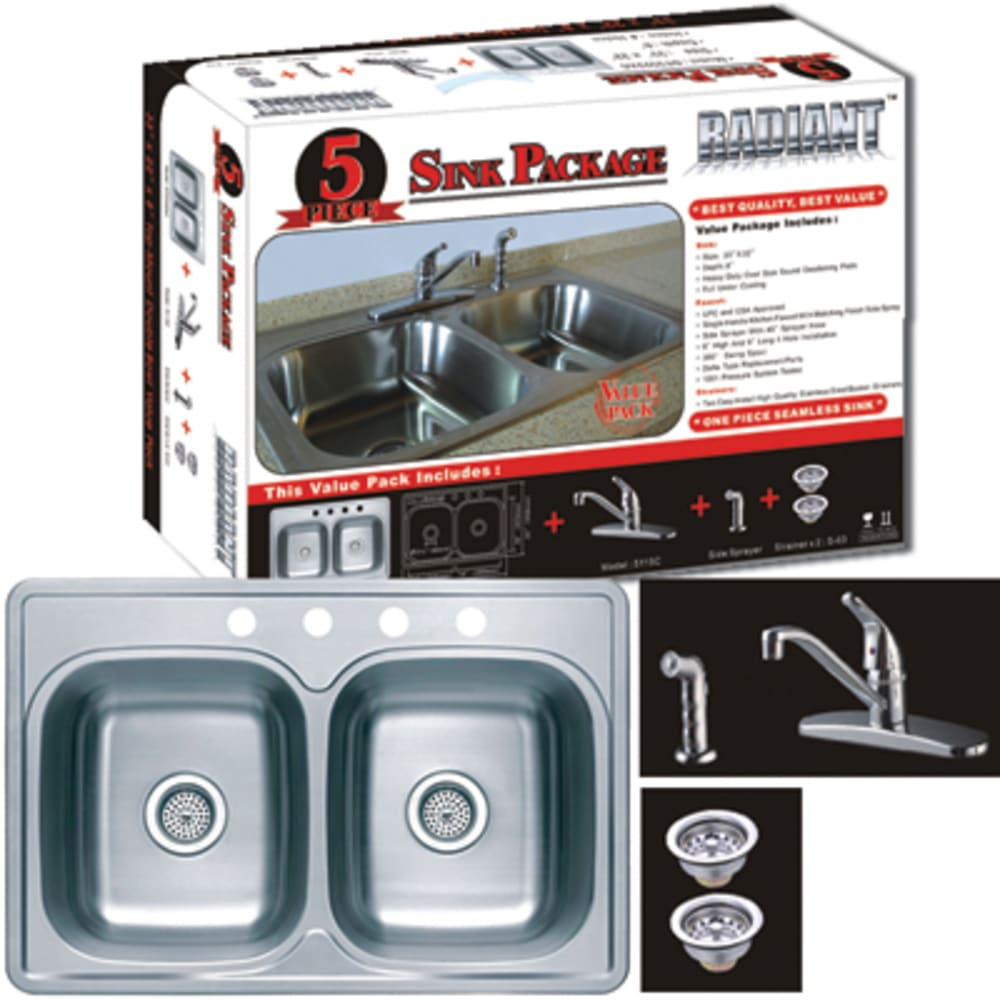 "33X22 8"" Deep Double Bowl Sink W/Faucet, Spray & Baskets"