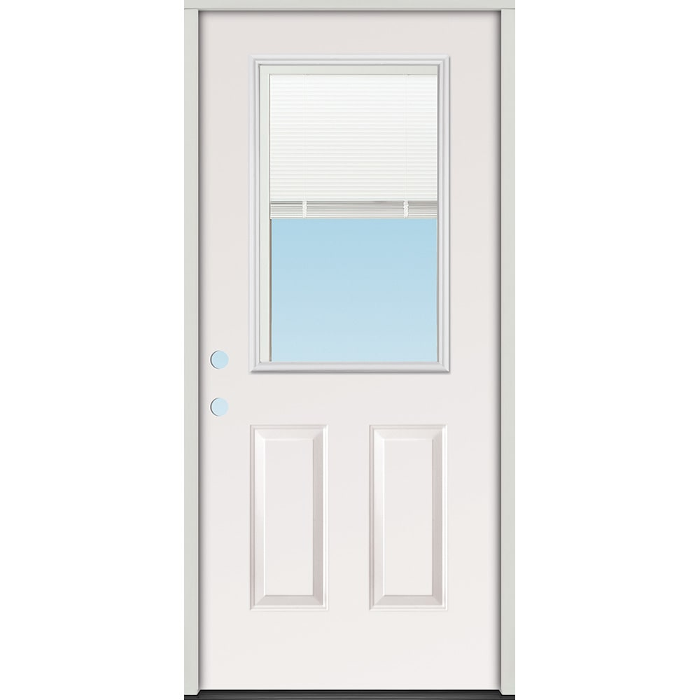 45320097 32 Half Lite Mini Blind Prehung Exterior Steel Door Unit  Right Hand