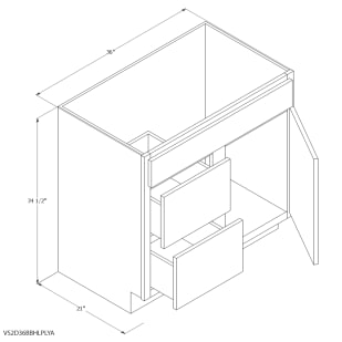 """Unfinished Oak 36""""x21"""" Vanity Cabinet with Left Drawers"""