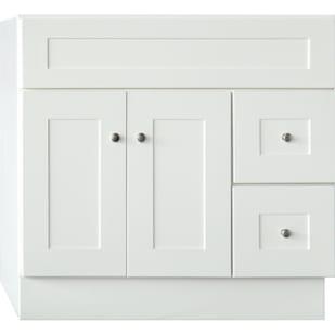 5024079 Linen White 36X21 Shaker Style 2 Door 2 Drawer Vanity Base