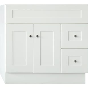 5024079 Linen White 36X21 Shaker Style 2 Door 2 Drawer Vanity Base