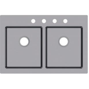 "33X22 9"" Deep DBL Bowl Dual Mount Microcorner Sink"