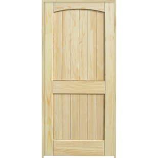 4528601 24 2 Panel Arch Top Clear Pine Interior Door Unit  Left Hand
