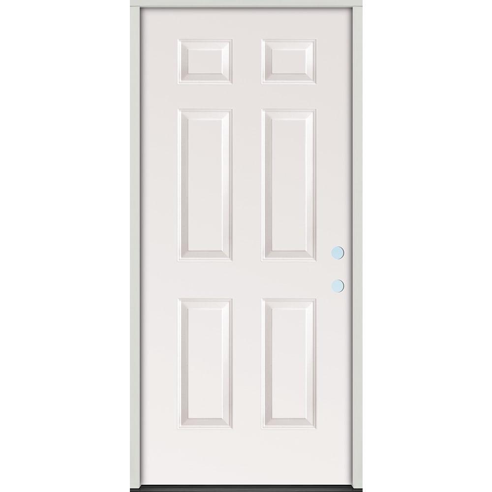 45320064 32 Raised Panel Prehung Exterior Steel Door Unit  Left Hand