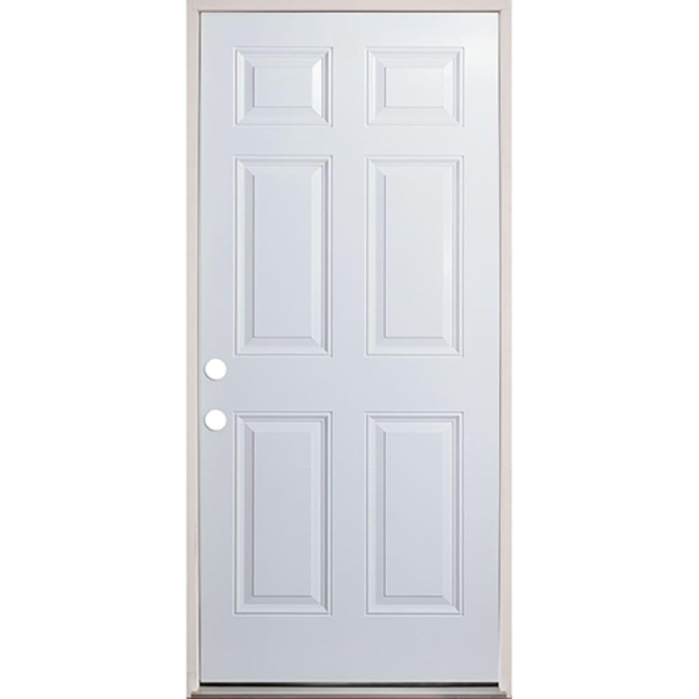 45320133 36 Raised Panel Prehung Exterior Fiberglass Door Unit Right Hand