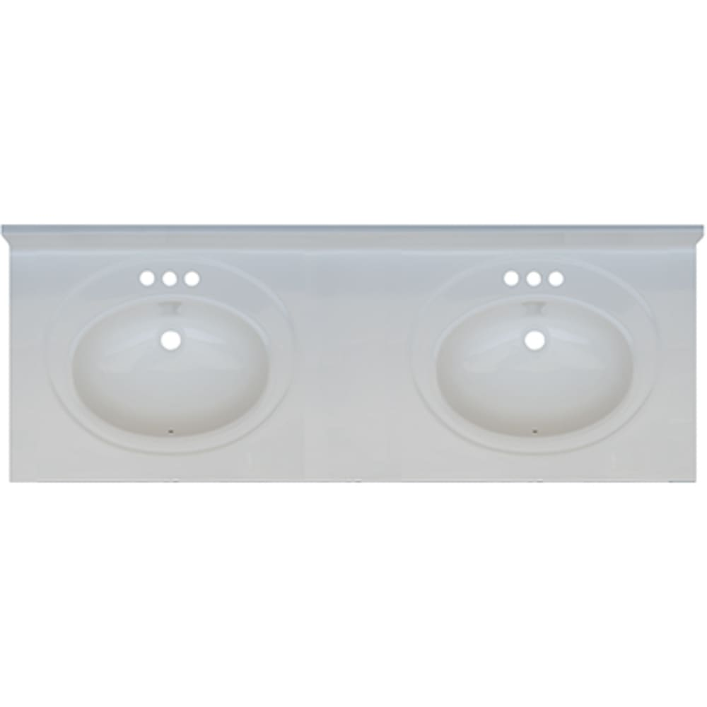 5020696 Solid White 61x22 Double Bowl Engineered Stone Vanity Top