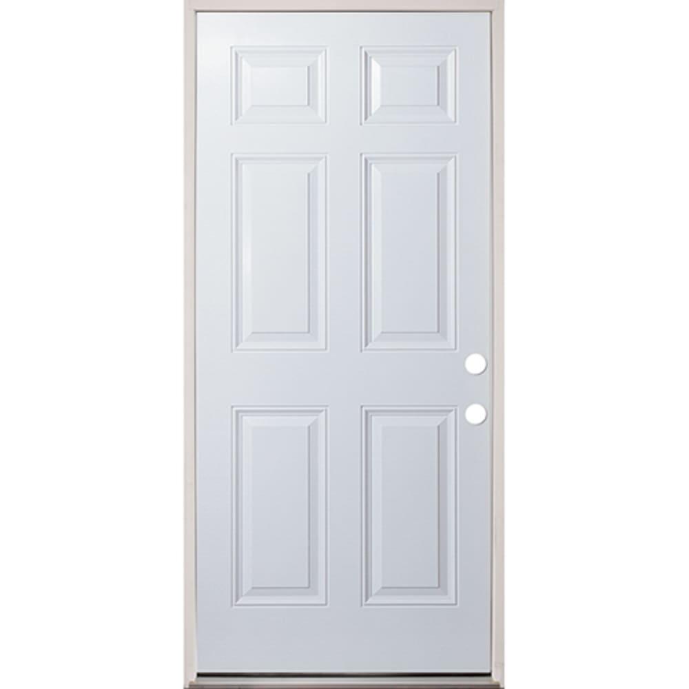 4503855 36 Raised Panel Prehung Exterior Steel Door Unit  Left Hand