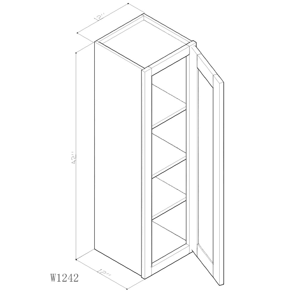 """GHI Arcadia White Shaker 12"""" x 42"""" Wall Cabinet 