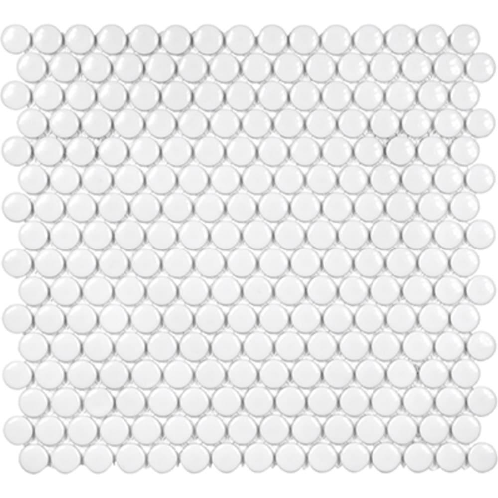 5534016 Soho 3 4 Glossy White Penny Round Mosaic Tile