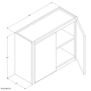 "Unfinished Oak 30""x24"" Wall Cabinet"