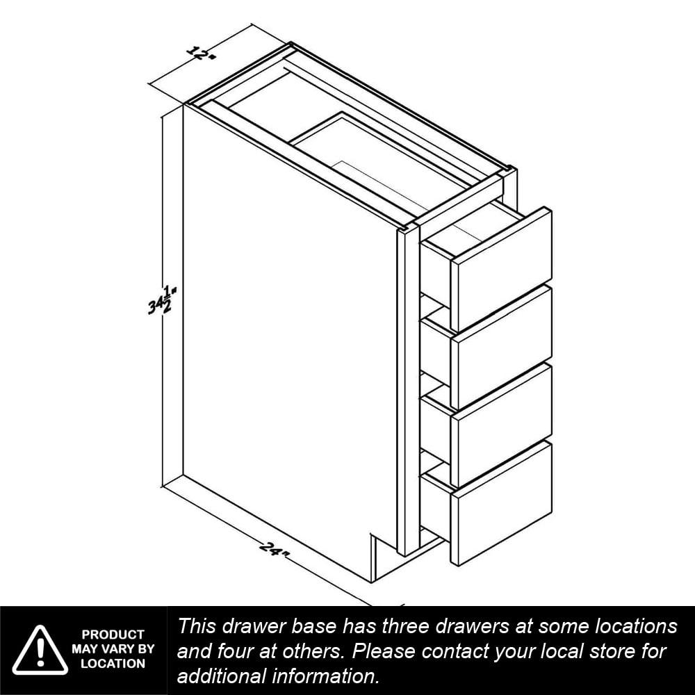 """Unfinished Oak 3"""" Drawer Base Cabinet"""