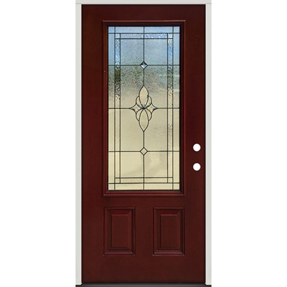 45320034 36 Prefinished  Prehung Fiberglass Exterior Door Unit  Left Hand