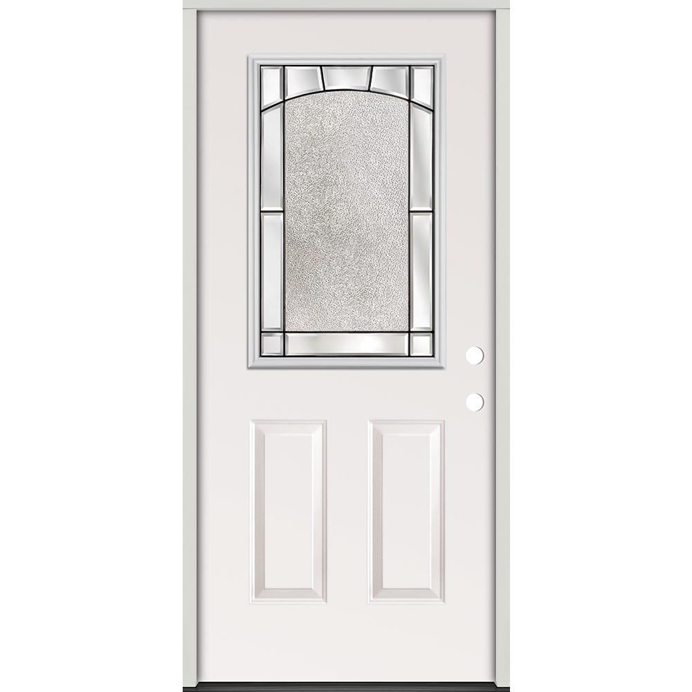 45320152 36    Half Glass Prehung Exterior Steel Door Unit  Left Hand