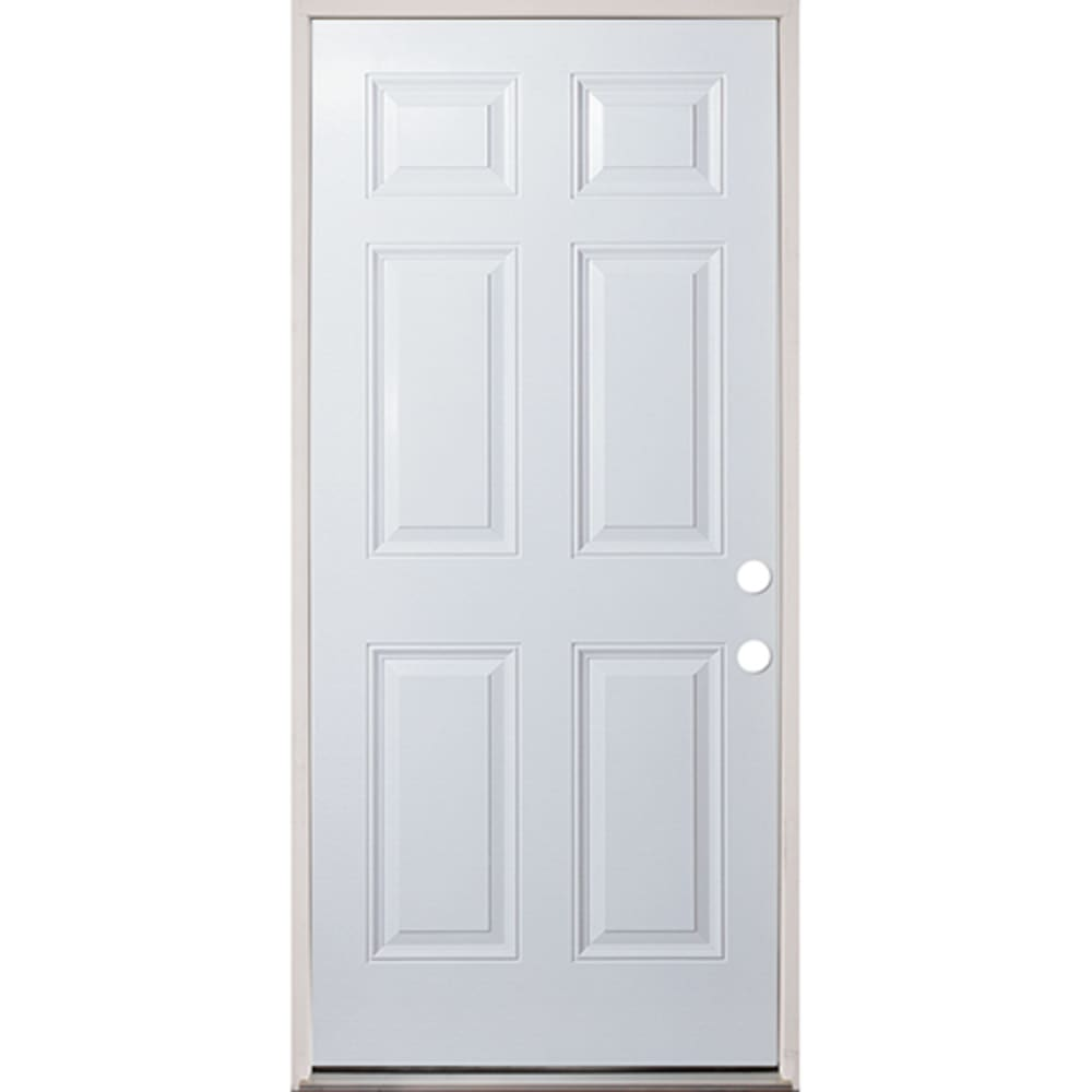 45320132 36 Raised Panel Prehung Exterior Fiberglass Door Unit Left Hand