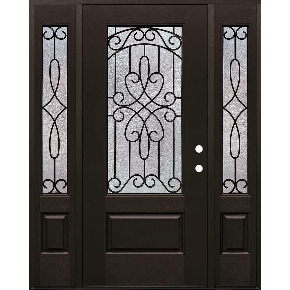 4533155 60 FIBERGLASS IRON GRILLES DOOR UNIT W SIDELIGHTS  LEFT HAND