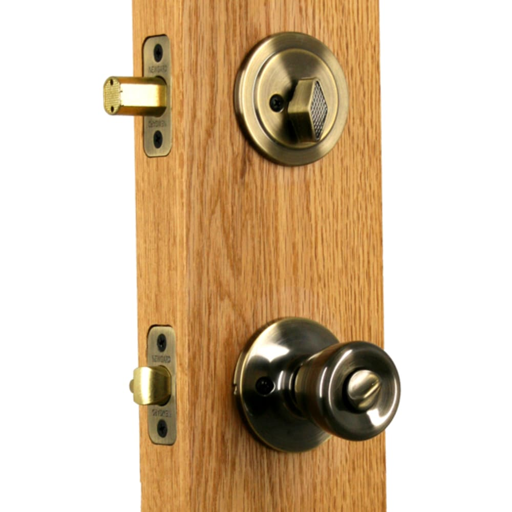 Newgard Tulip Antique Brass Entry Combo Knob/Deadbolt