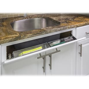 5049041 Sink Front Cabinet Storage Tipout Tray 14 wide Stainless Steel