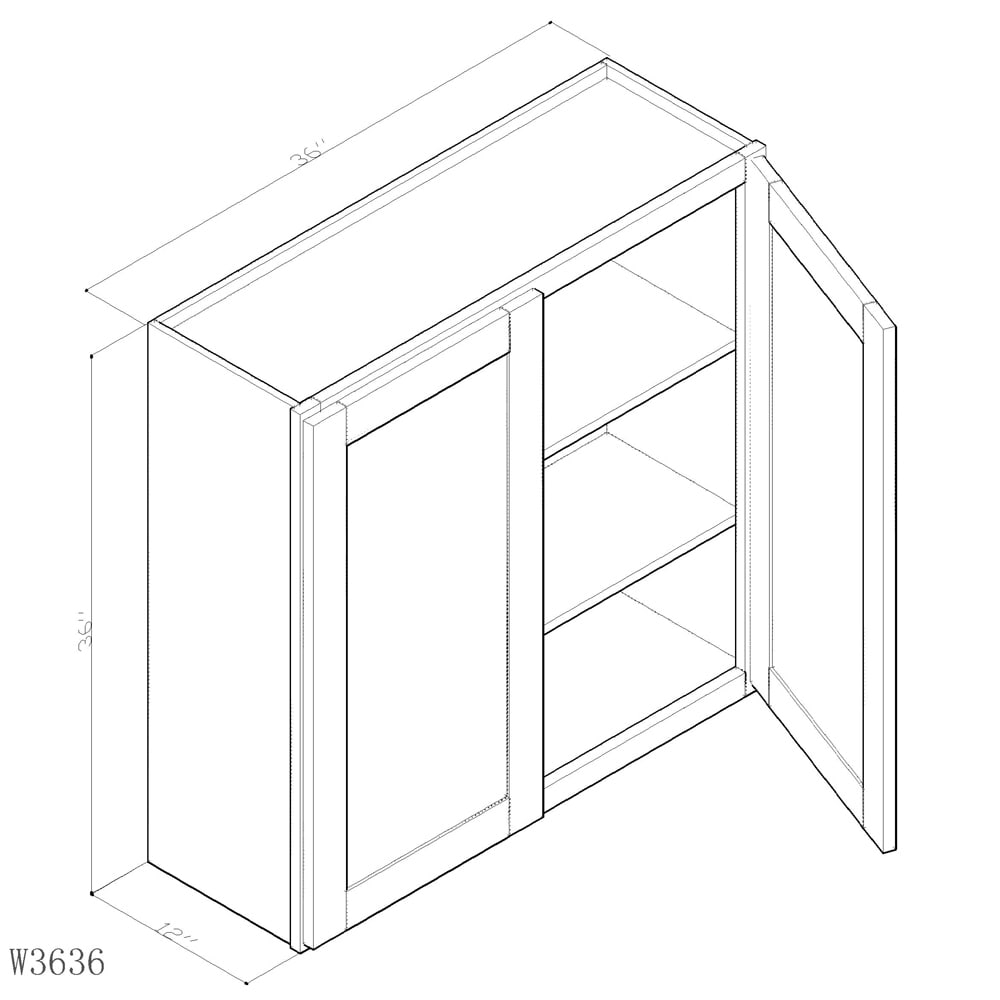 """GHI Arcadia White Shaker 36"""" x 36"""" Wall Cabinet 