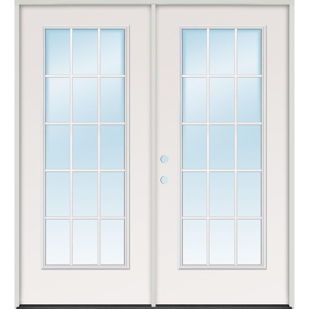 45320085 60 15 Lite Steel Prehung Exterior Double Door Unit  Right Hand