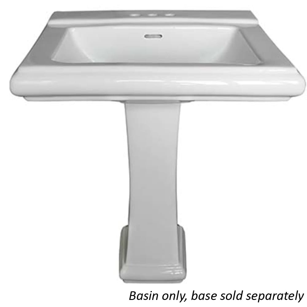 Rio White Rectangular Pedestal Bathroom Sink