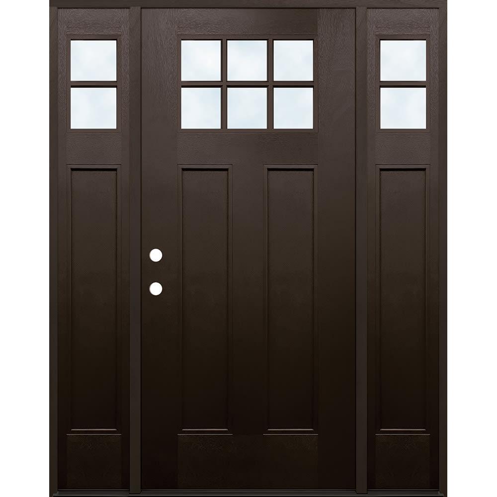 4533152 60 FIBERGLASS 6 LITE W SIDELIGHTS DOOR UNIT 60  RIGHT HAND